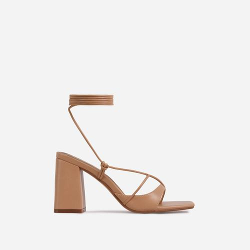 Take-Off Lace Up Square Toe Low Block Heel In Nude Faux Leather