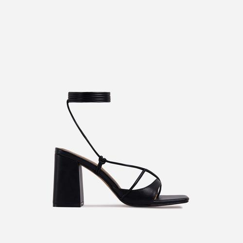 Take-Off Lace Up Square Toe Low Block Heel In Black Faux Leather