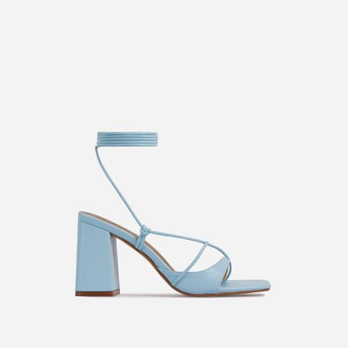 Take-Off Lace Up Square Toe Low Block Heel In Light Blue Faux Leather