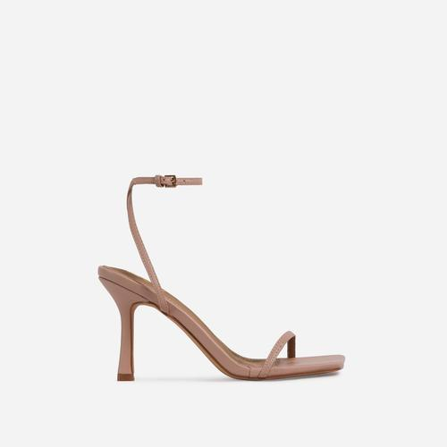 Savannah Barely There Square Toe Heel In Nude Faux Leather