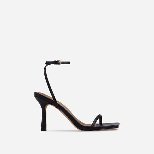 Savannah Barely There Square Toe Heel In Black Faux Leather