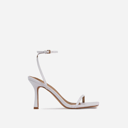 Savannah Barely There Square Toe Heel In White Faux Leather