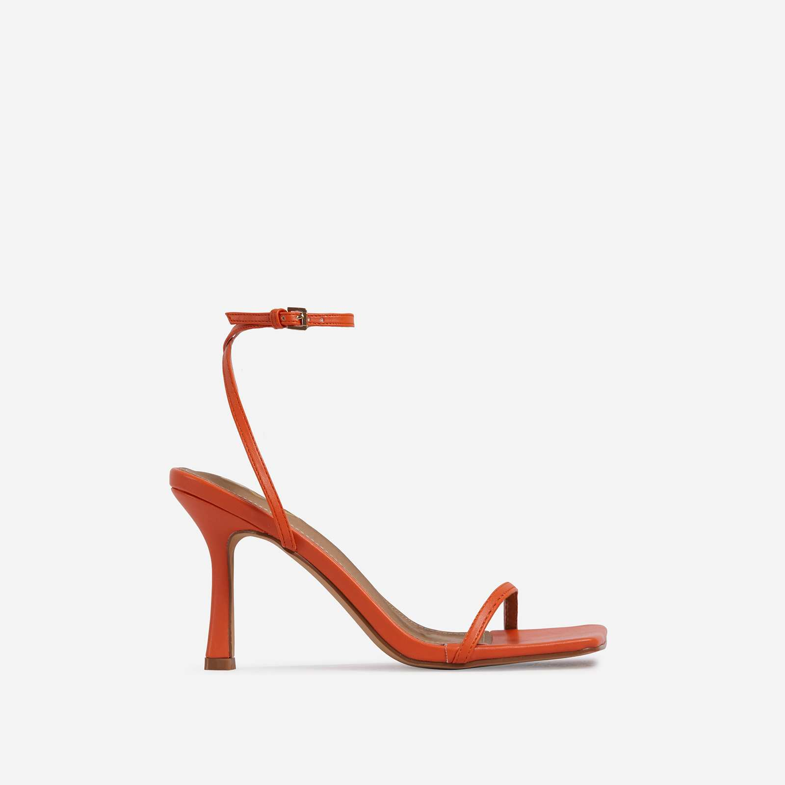 Savannah Barely There Square Toe Heel In Orange Faux Leather
