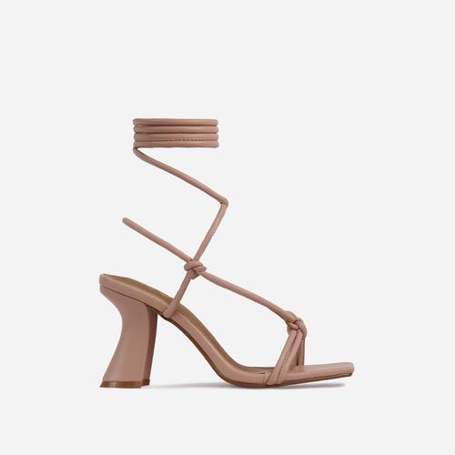 Harmony Knotted Detail Lace Up Square Toe Curved Low Block Heel In Nude Faux Leather
