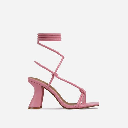 Harmony Knotted Detail Lace Up Square Toe Curved Low Block Heel In Pink Faux Leather