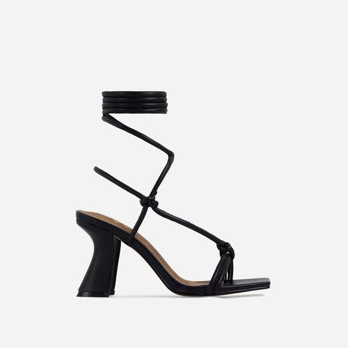 Harmony Knotted Detail Lace Up Square Toe Curved Low Block Heel In Black Faux Leather
