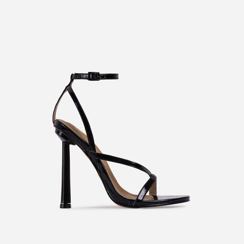 Yasmin Strappy Heel In Metallic Black Faux Leather