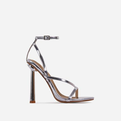 Yasmin Strappy Heel In Metallic Silver Faux Leather