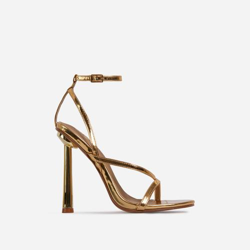 Yasmin Strappy Heel In Metallic Gold Faux Leather