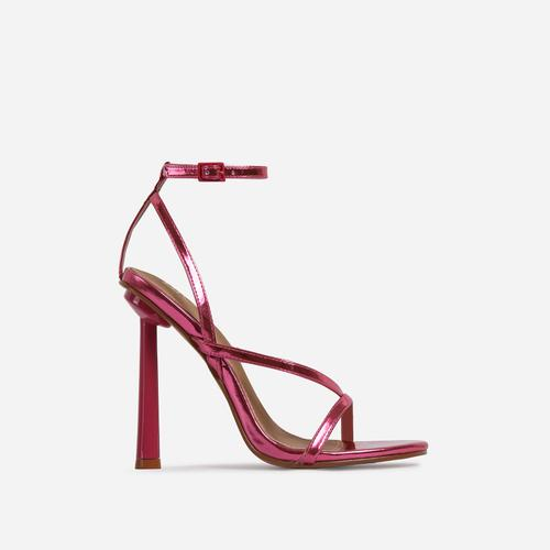 Yasmin Strappy Heel In Metallic Pink Faux Leather