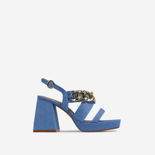 Recharge Chain Detail Platform Flared Block Heel In Blue Denim