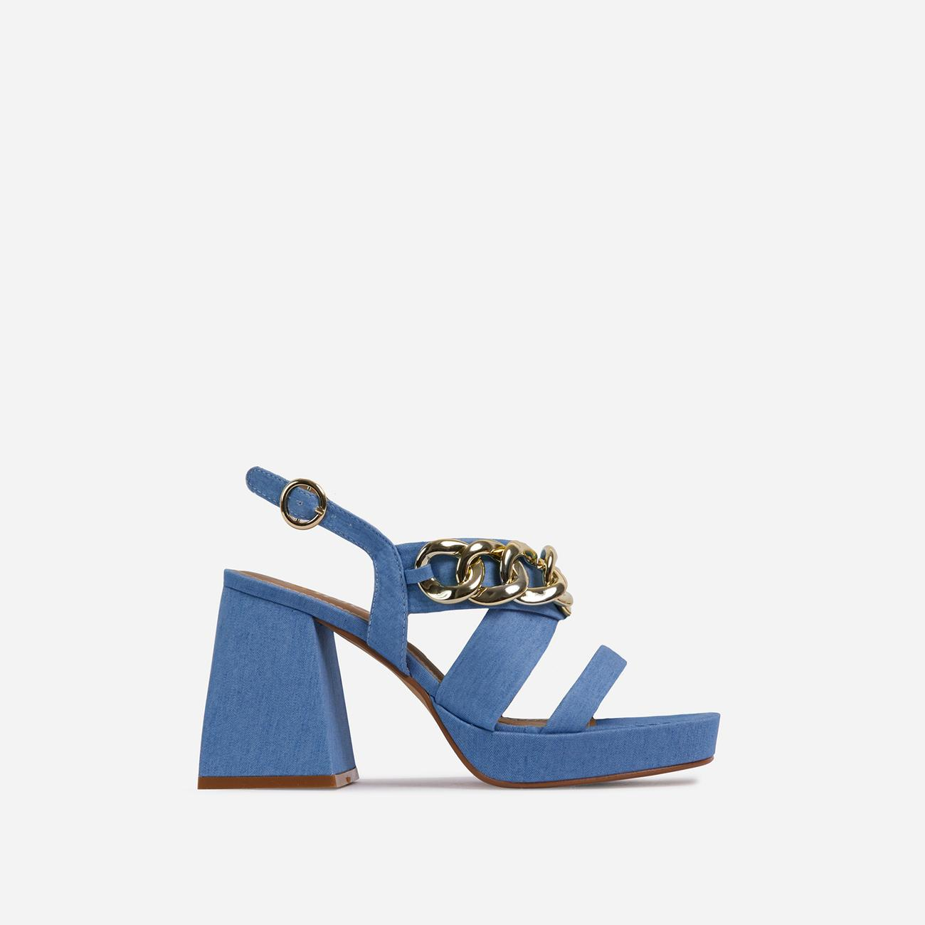 Recharge Wide Fit Chain Detail Platform Flared Block Heel In Blue Denim Image 1