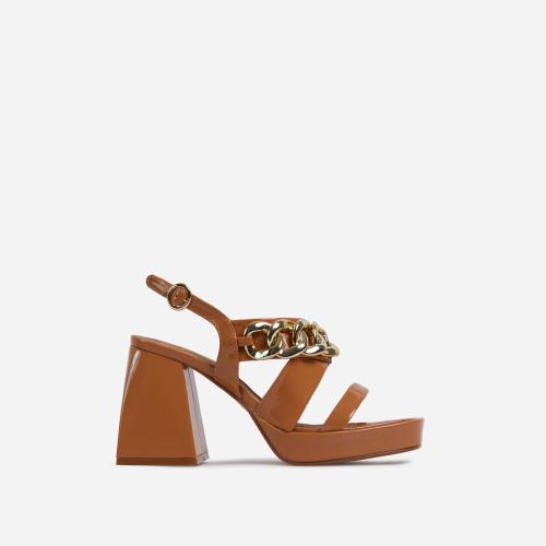 Recharge Chain Detail Platform Flared Block Heel In Dark Nude Patent
