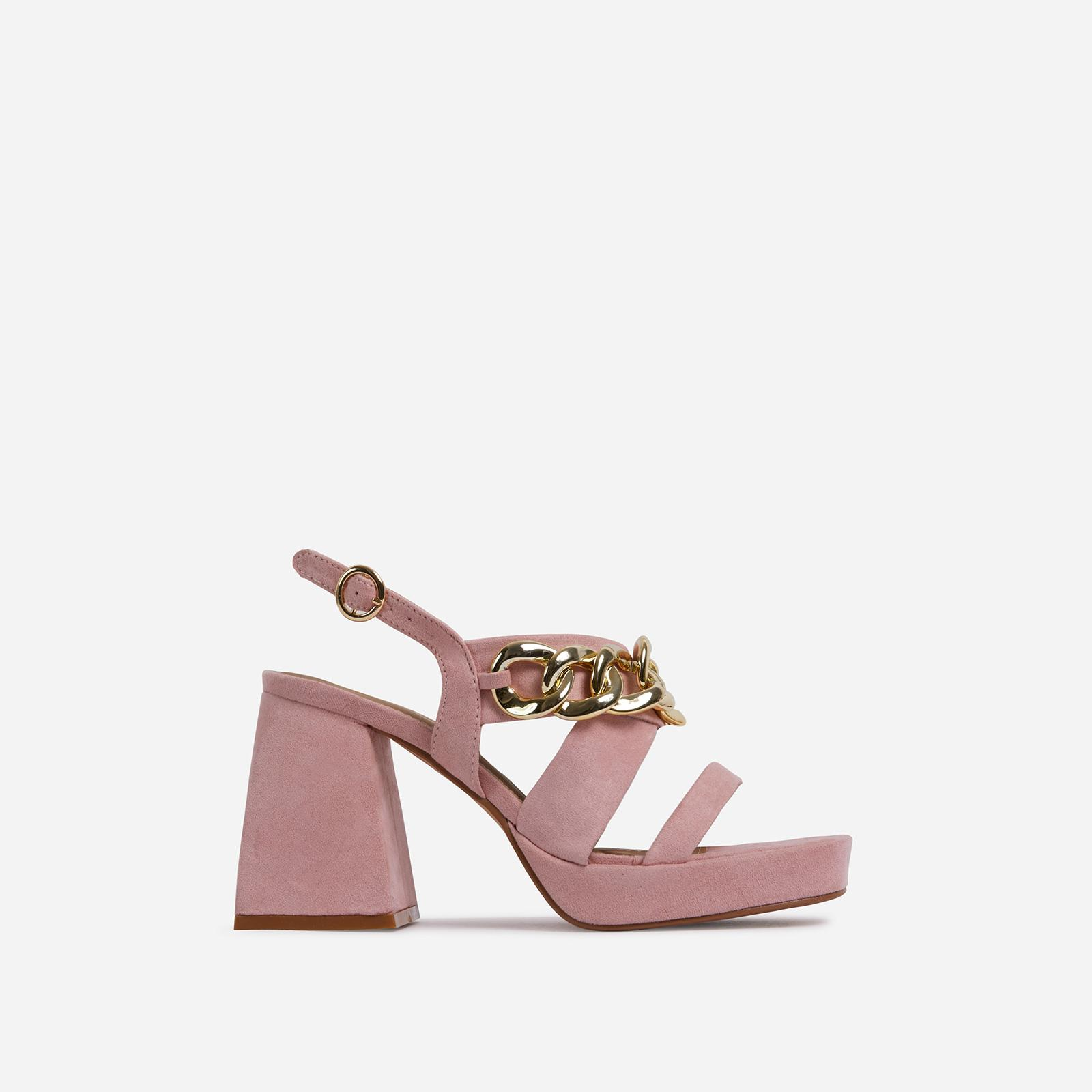 Recharge Chain Detail Platform Flared Block Heel In Pink Faux Suede, Purple