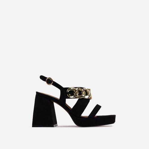 Recharge Chain Detail Platform Flared Block Heel In Black Faux Suede