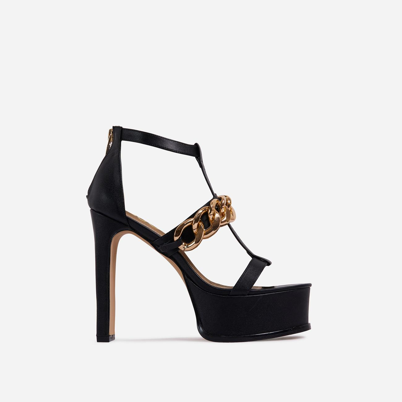 Belma Chain Detail Caged Platform Thin Block Heel In Black Faux Leather Image 1