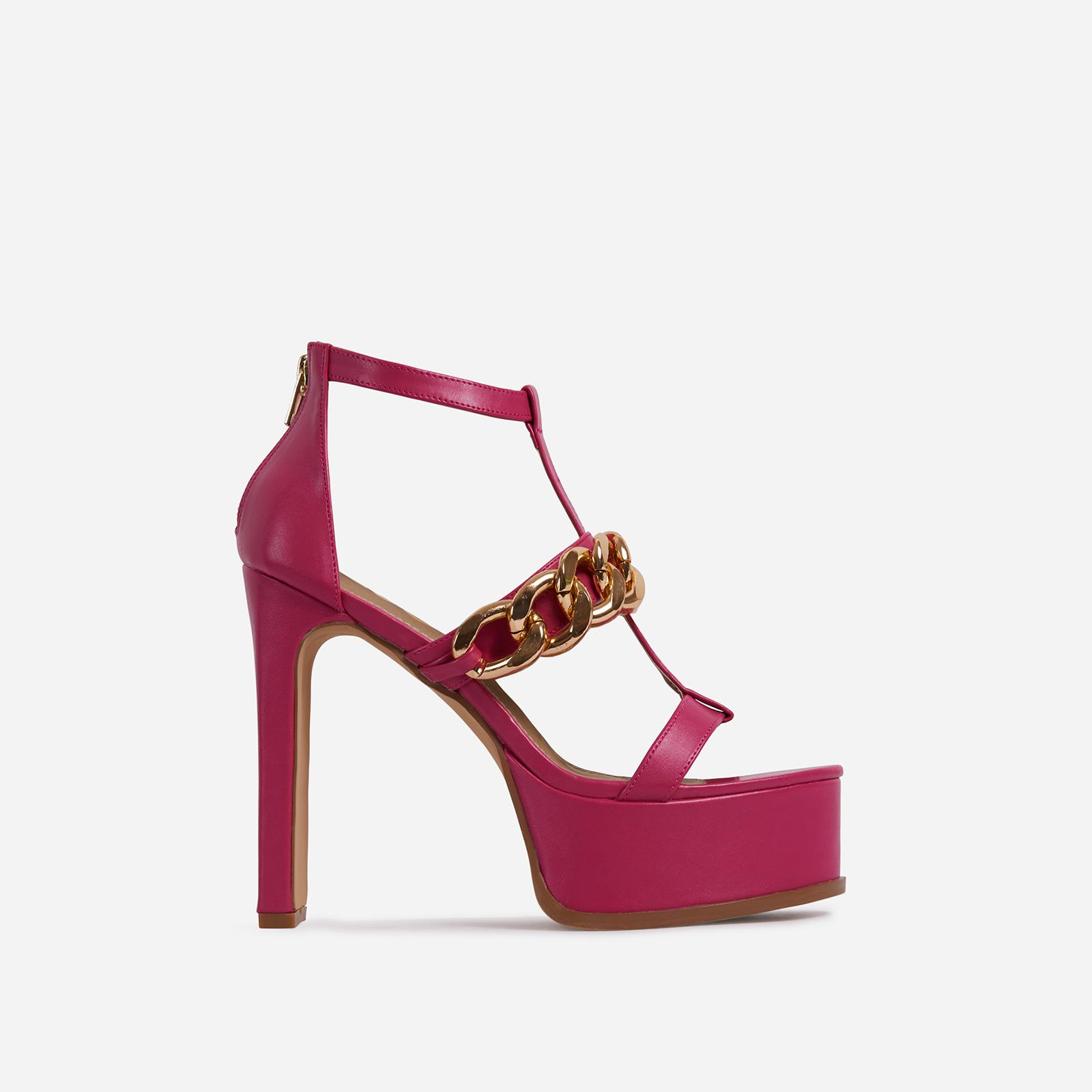 Belma Chain Detail Caged Platform Thin Block Heel In Fuchsia Pink Faux Leather, Pink