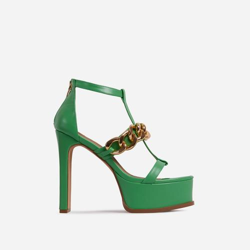 Belma Chain Detail Caged Platform Thin Block Heel In Green Faux Leather
