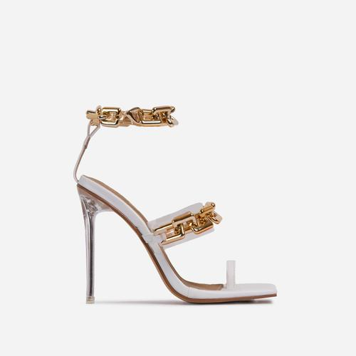 Morgana Triple Strap Chain Detail Square Toe Clear Perspex Heel In White Faux Leather