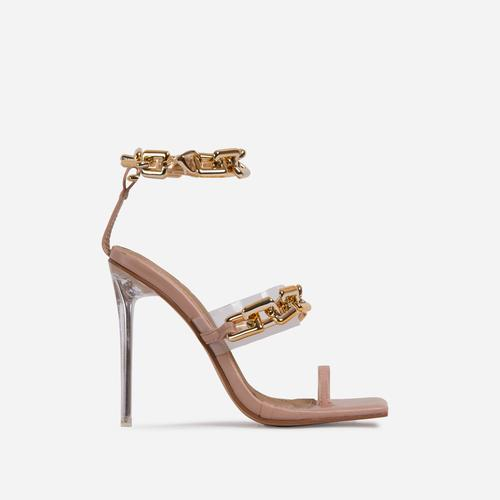 Morgana Triple Strap Chan Detail Square Toe Clear Perspex Heel In Nude Faux Leather