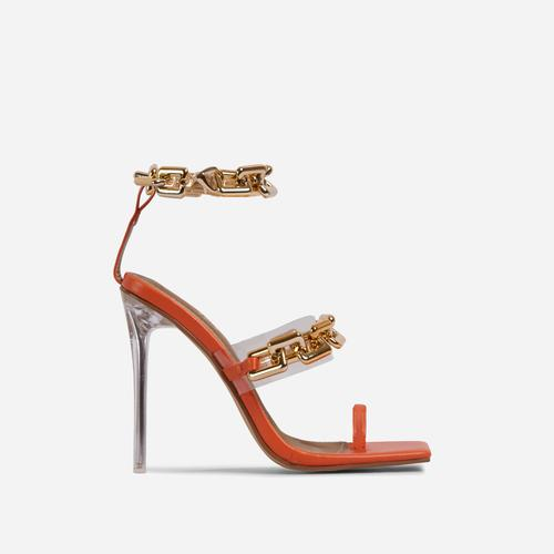 Morgana Triple Strap Chain Detail Square Toe Clear Perspex Heel In Orange Faux Leather
