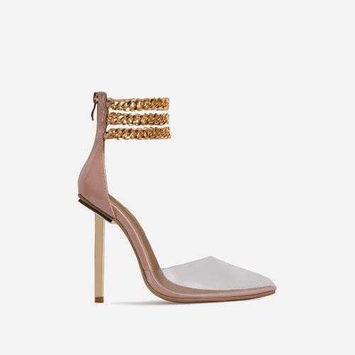City-Life Triple Chain Detail Clear Perspex Pointed Toe Metallic Heel In Nude Patent