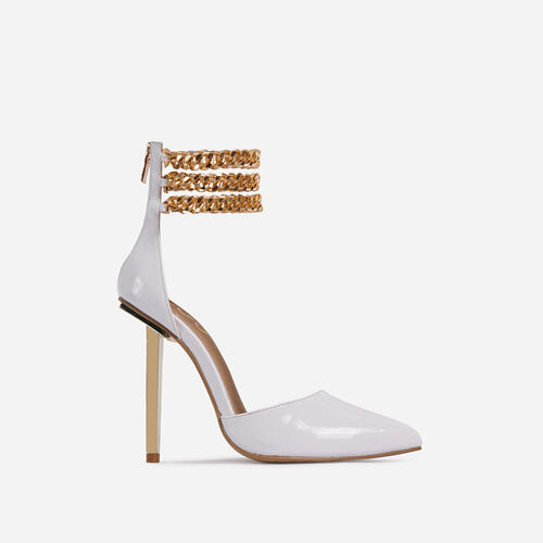 City-Life Triple Chain Detail Pointed Toe Metallic Heel In White Patent