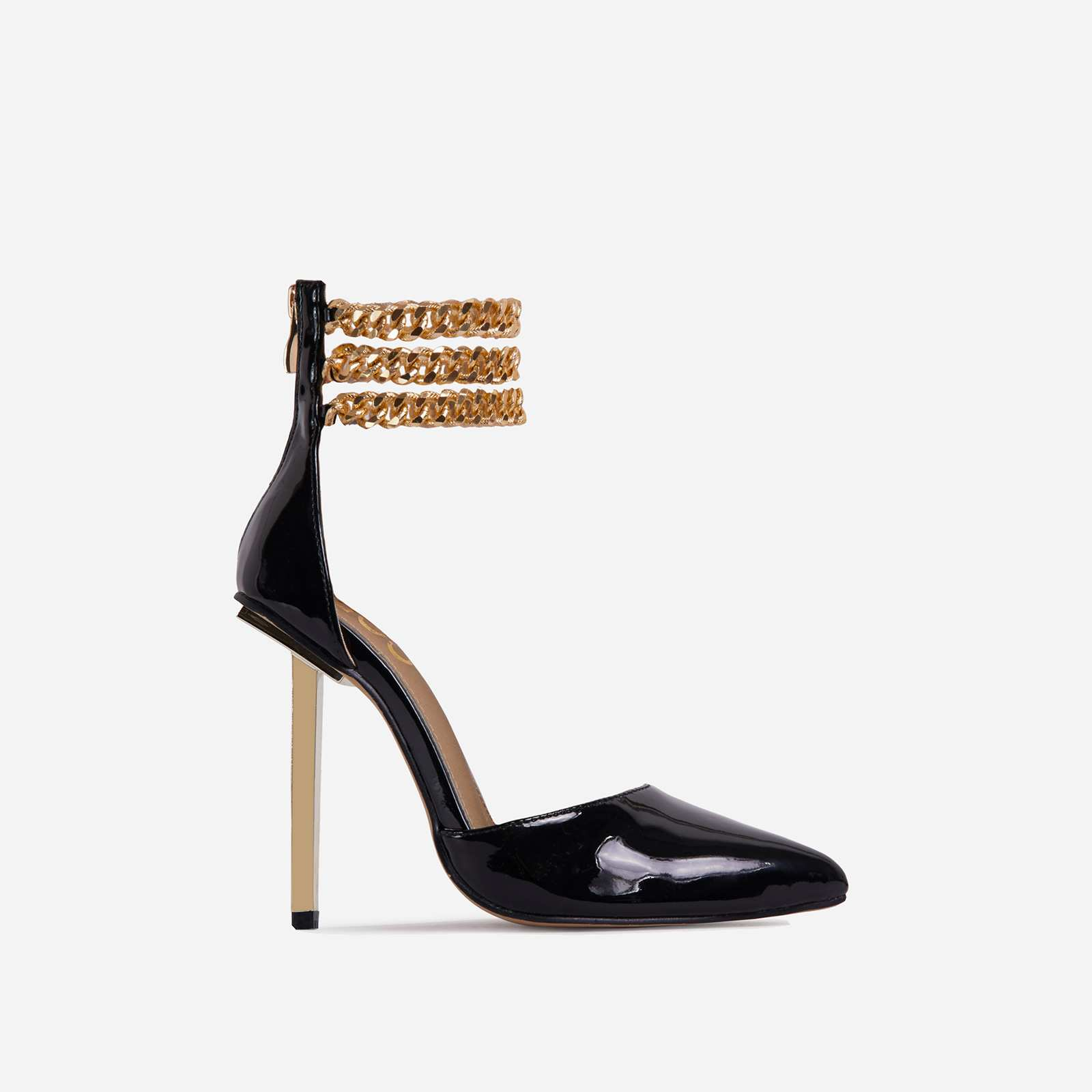 City-Life Triple Chain Detail Pointed Toe Metallic Heel In Black Patent