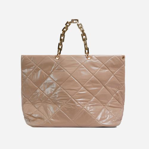 Royalty Chain Detail Large Quilted Shoulder Bag In Cream Nude Nylon