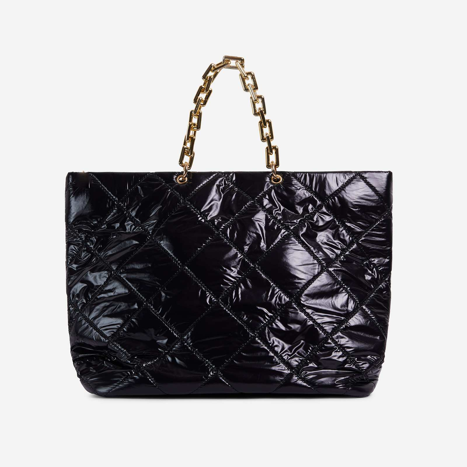 Royalty Chain Detail Large Quilted Shoulder Bag In Black Nylon