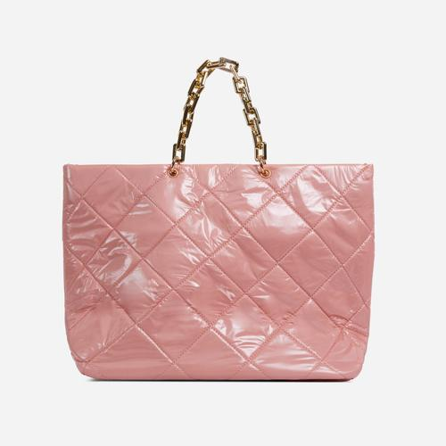 Royalty Chain Detail Large Quilted Shoulder Bag In Pink Nylon
