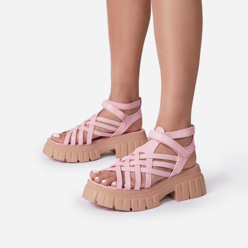 Daydreamer Chunky Sole Caged Gladiator Sandal In Pink Faux Leather