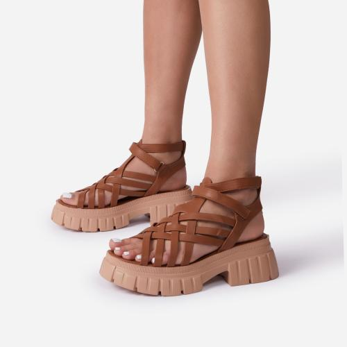 Daydreamer Chunky Sole Caged Gladiator Sandal In Tan Brown Faux Leather