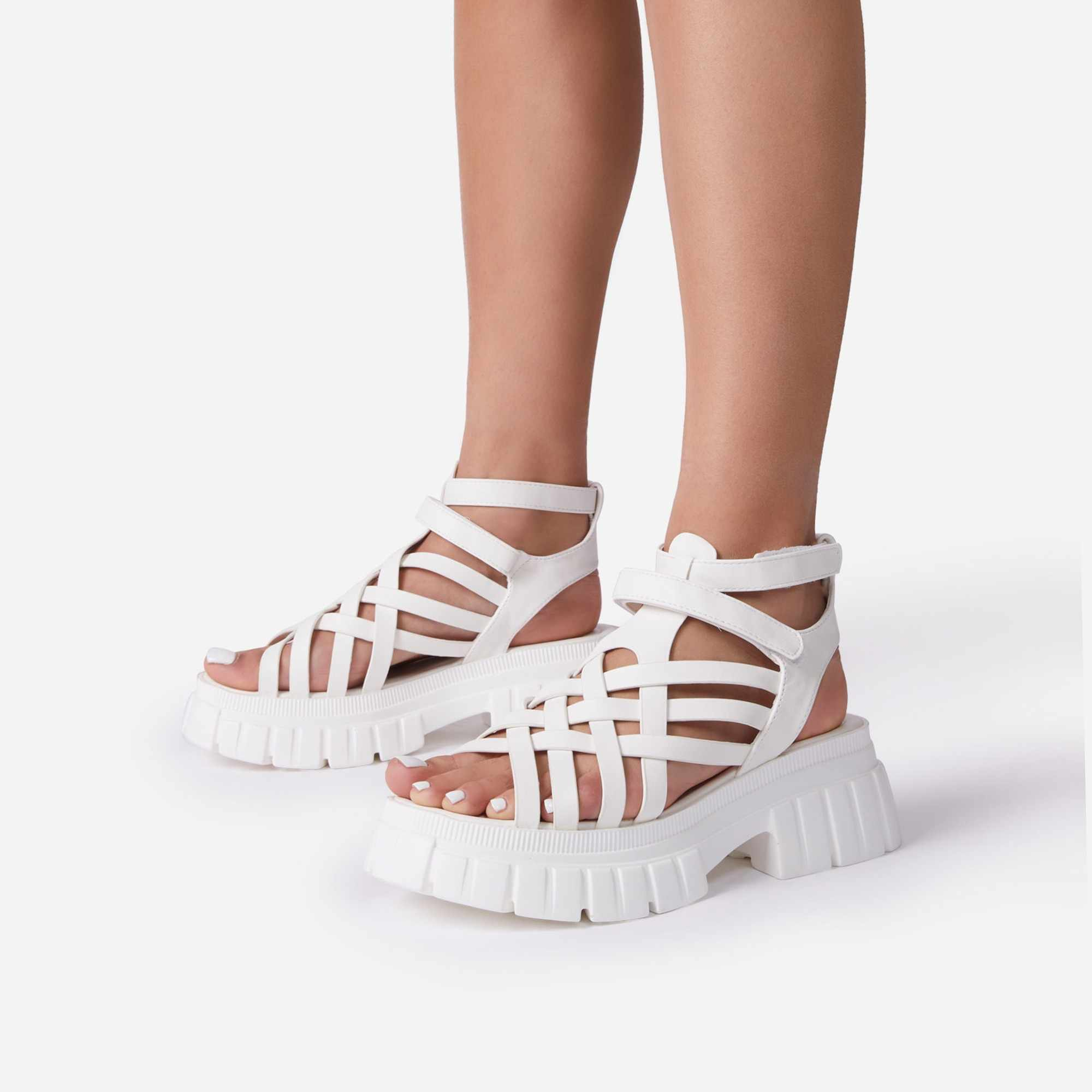 Daydreamer Chunky Sole Caged Gladiator Sandal In White Faux Leather