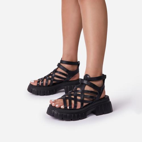 Daydreamer Chunky Sole Caged Gladiator Sandal In Black Faux Leather
