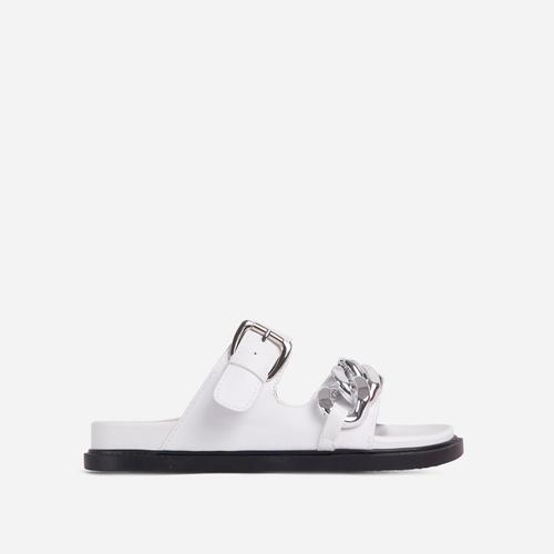 Born-To-Run Chain Detail Double Strap Chunky Sole Flat Slider Sandal In White Faux Leather