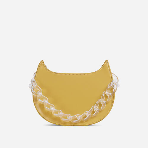 Moon Clear Perspex Chain Detail Cross Body Bag In Yellow Faux Leather