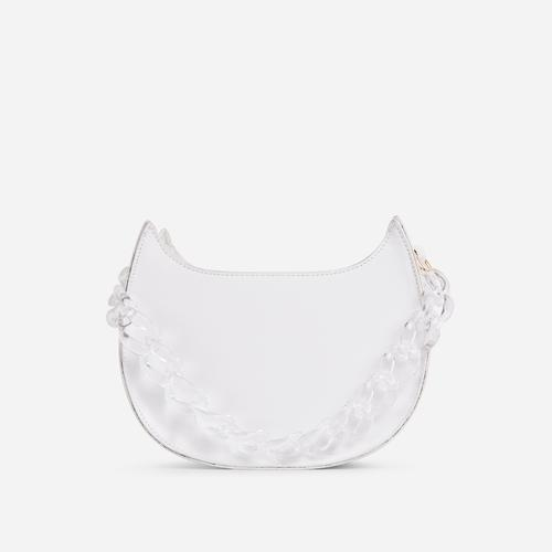 Moon Clear Perspex Chain Detail Cross Body Bag In White Faux Leather