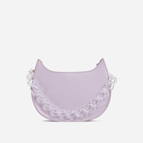 Moon Diamante Chain Detail Cross Body Bag In Lilac Faux Leather