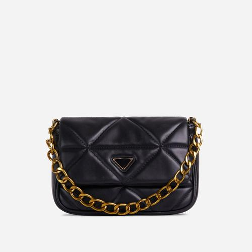 Ringer Quilted Cross Body Bag In Black Faux Leather