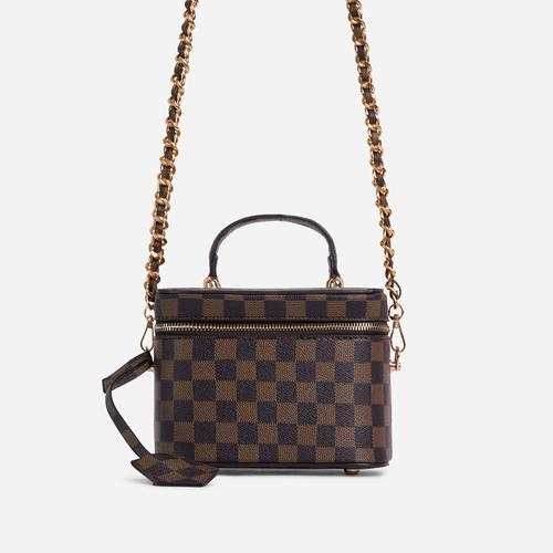 Ross Checked Detail Vanity Bag In Brown Faux Leather