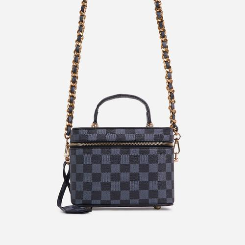 Ross Checked Detail Vanity Bag In Black Faux Leather