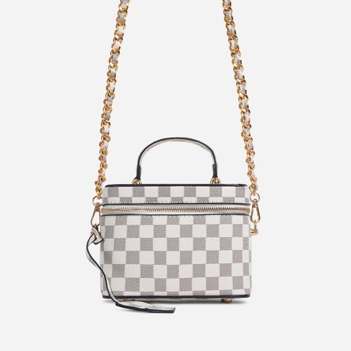 Ross Checked Detail Vanity Bag In Grey Faux Leather