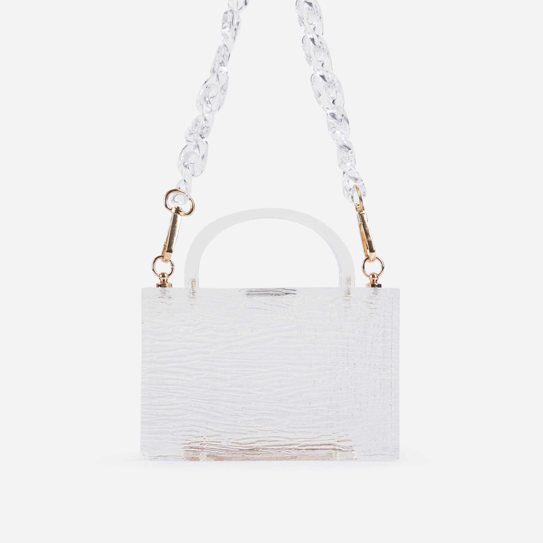 Joey Mini Grab Bag In Clear Perspex