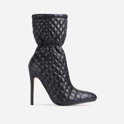 Moment Quilted Ankle Boot In Black Faux Leather