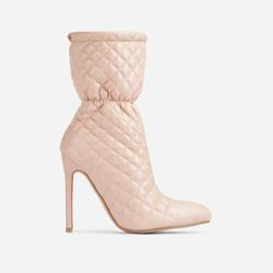 Moment Quilted Ankle Boot In Nude Faux Leather