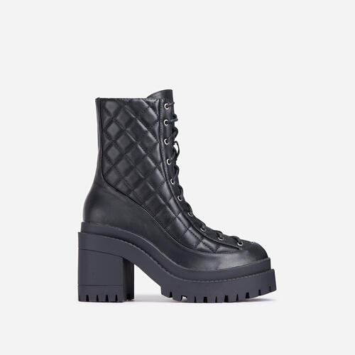 So-Fetch Quilted Lace Up Block Heel Ankle Biker Boot In Black Faux Leather