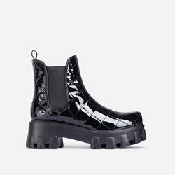 Rise-Up Quilted Chunky Sole Ankle Biker Boot In Black Patent