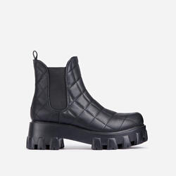 Rise-Up Quilted Chunky Sole Ankle Biker Boot In Black Faux Leather