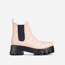 Rise-Up Quilted Chunky Sole Ankle Biker Boot In Nude Faux Leather